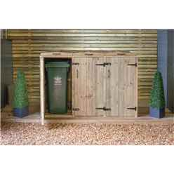 Triple Redwood Pressure Treated Wheelie Bin Store - 140 Litre Bins