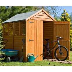 7ft x 5ft Dip Treated Overlap Apex Wooden Garden Shed With 4 Windows And Double Doors (10mm Solid OSB Floor)