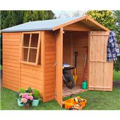7ft x 7ft Dip Treated Overlap Apex Wooden Garden Shed With 1 Opening Window And Double Doors (10mm Solid Osb Floor)