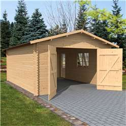 13ft x 18ft (4.2m x 5.7m) Premier Apex Garage (Single Glazing) (44mm Tongue and Groove)