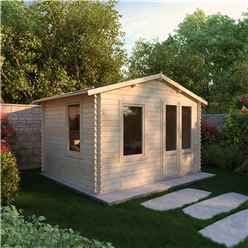3.43m x 2.70m Budget Log Cabin (19mm Tongue and Groove) + Free Floor & Felt & Safety Glass