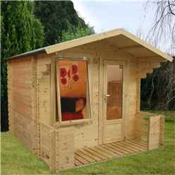 8ft x 9ft (2.50m x 2.72m) Budget Log Cabin Including Verandah (2ft 7 inches (0.8m) - (19mm Tongue and Groove)
