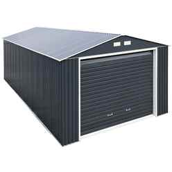*PRE ORDER - CURRENTLY OUT OF STOCK* 12 x 26 Deluxe Anthracite Metal Garage (3.72m x 7.84m)