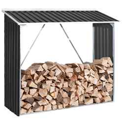 6ft x 2ft Deluxe Anthracite Metal Woodstore (1.66m x 0.62m)