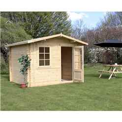 3m x 2.4m Premier Apex Log Cabin (Double Glazing) + Free Floor & Felt & Safety Glass (44mm)
