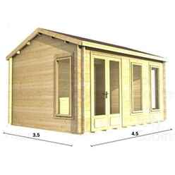 4.5m x 3.5m (15ft x 12ft) Log Cabin (2076) - Double Glazing (70mm Wall Thickness)