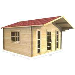 4m x 4m (13ft x 13ft) Log Cabin (2051) - Double Glazing (44mm Wall Thickness)
