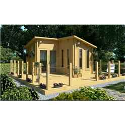 4m x 4m (13ft x 13ft) Log Cabin (2054) - Double Glazing (70mm Wall Thickness)