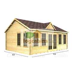 5.5m x 4.0m (18ft x 13ft) Log Cabin (4997) - Double Glazing (70mm Wall Thickness)