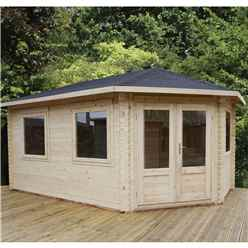 5m x 3m Premier Apex GRANDE Corner Log Cabin (Double Glazing) + Free Floor & Felt & Safety Glass (44mm) - Right Door