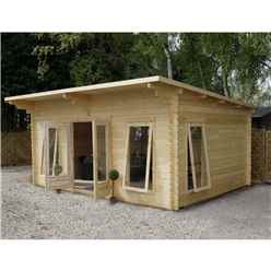 17ft x 13ft (5.2m x 4m) Premier Pent Log Cabin (Double Glazing) with FREE Felt (34mm Tongue and Groove)