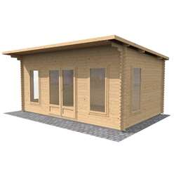 17ft x 11ft (5.2m x 3.4m) Premier Pent Home Office Log Cabin (Single Glazing) with FREE Felt (44mm Tongue and Groove)
