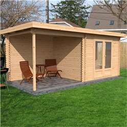18ft x 8ft (5.5m x 2.5m) Premier Garden Pent Log Cabin (Double Glazing) with FREE Felt (44mm Tongue and Groove)