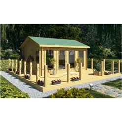 4.5m x 3.5m (15ft x 12ft) Log Cabin (2075) - Double Glazing (70mm Wall Thickness)