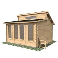 13ft x 13ft (4m x 4m) Pent Log Cabin (Double Glazing) with FREE Felt (34mm Tongue and Groove)