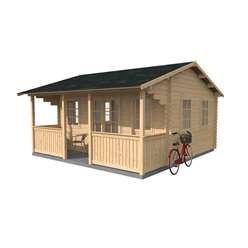 16ft x 15ft (5m x 4.8m) Premier Log Cabin + Verandah (Double Glazing) (44mm Tongue and Groove)
