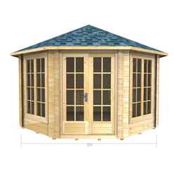 3.5m x 3.5m (12ft x 12ft) Log Cabin (2043) - Double Glazing (70mm Wall Thickness)