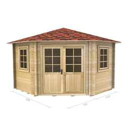 3m x 3m Log Cabin (2036) - Double Glazing (70mm Wall Thickness)