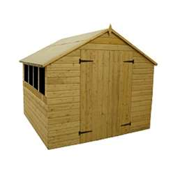 8ft x 10ft Pressure Treated Tongue and Groove Apex Shed with Double Doors + 4 Windows