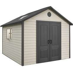 **PRE-ORDER: DUE BACK IN STOCK 3RD OCTOBER** 11 x 13.5 Life Plus Plastic Apex Shed with Plastic Floor  + 2 windows (3.37m x 4.13m)