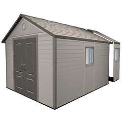 11 x 18.5 Duramax Plus Plastic Apex Shed with Plastic Floor  + 4 windows (3.37m x 5.65m)