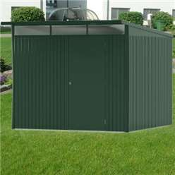 8 x 10 X Large Premier Heavy Duty Metal Dark Green Shed  (2.6m x 3m)