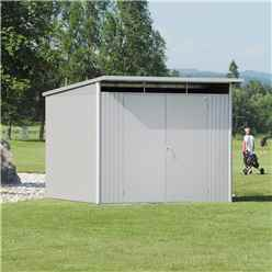 8ft x 10ft X Large Premier Heavy Duty Metal Metallic Silver Shed  (2.6m x 3m)