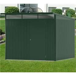 8 x 10 X Large Premier Heavy Duty Metal Dark Green Shed With Double Doors (2.6m x 3m)