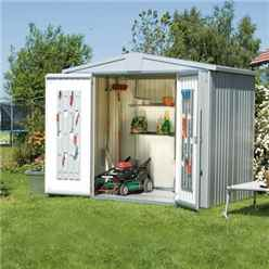 8ft x 5ft Premier Heavy Duty Metal Silver Metallic Shed (2.44m x 1.56m)