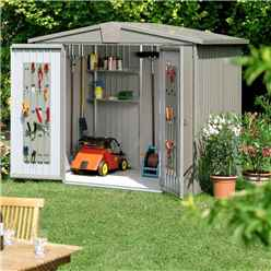 8 x 7 Premier Heavy Duty Metal Quartz Grey Shed (2.44m x 2.28m)