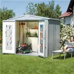 8ft x 7ft Premier Heavy Duty Metal Silver Metallic Shed (2.44m x 2.28m)