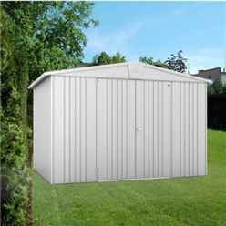 10ft x 7ft Premier Heavy Duty Metal Silver Metallic Shed (3.16m x 2.28m)