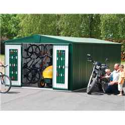 10ft x 10ft Premier Heavy Duty Metal Dark Green Shed (3.16m x 3.0m)