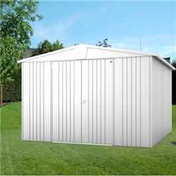 10ft x 10ft Premier Heavy Duty Metal Silver Metallic Shed (3.16m x 3.0m)