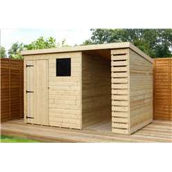 10 x 6 Pressure Treated Tongue and Groove Pent Shed With Side Storage