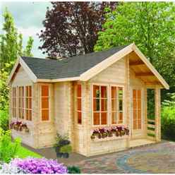 17 X 17 APEX LOG CABIN (5.05M X 5.05M) - 44MM TONGUE AND GROOVE LOGS
