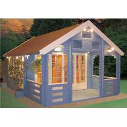 3.89m x 5.39m Log Cabin with Veranda - 44mm Tongue and Groove Logs