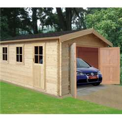 3.8m x 5.59m Log Cabin - 34mm Tongue and Groove