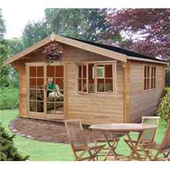 4.19m x 4.79m Apex Log Cabin - 70mm Tongue and Groove Logs