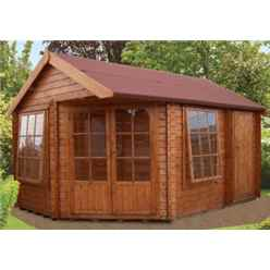 2.96m x 4.34m LOG CABIN - 28MM TONGUE AND GROOVE LOGS