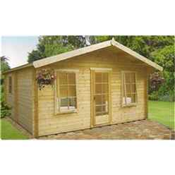 4.49m x 4.49m LOG CABIN - 44MM TONGUE AND GROOVE LOGS