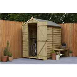 6ft x 4ft Pressure Treated Overlap Apex Wooden Garden Shed With Single Door - Windowless - Assembled