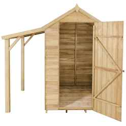 6ft x 4ft Pressure Treated Overlap Apex Wooden Garden Shed With Lean To - Assembled