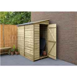 6ft x 3ft Pressure Treated Overlap Wooden Pent Shed - Assembled