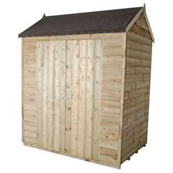 4 x 6 Pressure Treated Apex Reverse Overlap Shed With Double Doors - Assembled