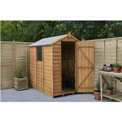 6ft x 4ft Overlap Apex Wooden Garden Shed With Single Door and 1 Window - Assembled