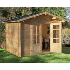 2.2m x 2.2m Log Cabin With Double Doors - 28mm Wall Thickness