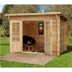 3m x 2m Log Cabin With Double Doors - 28mm Wall Thickness