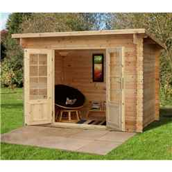 3m x 2m Log Cabin With Double Doors - 28mm Wall Thickness - INSTALLED