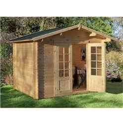 3.0m x 2.5m Log Cabin With Double Doors - 28mm Wall Thickness - INSTALLED